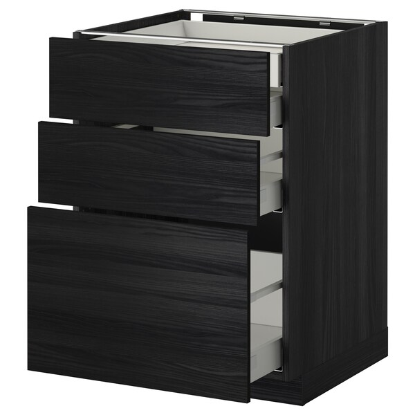 METOD / MAXIMERA خ. قاعدة 3 واجهة/2منخفض/1وسط/1علوي, أسود/Tingsryd أسود, 60x60 سم
