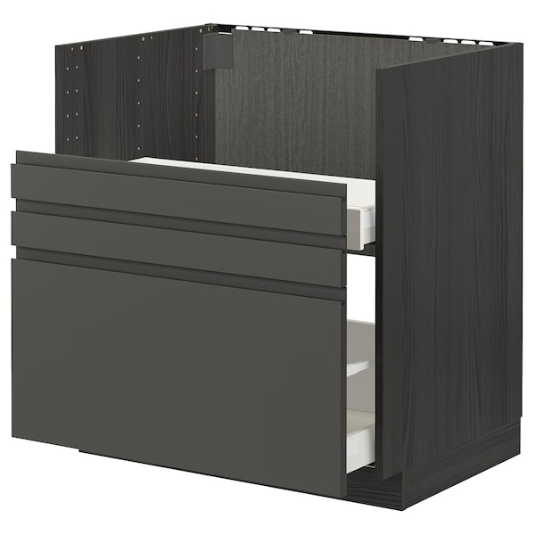 METOD / MAXIMERA Bc f BREDSJÖN sink/2 fronts/2 drws, black/Voxtorp dark grey, 80x60 cm