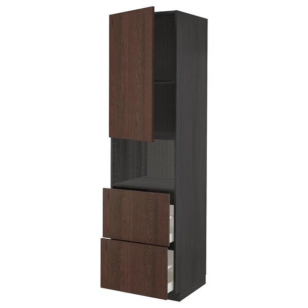 METOD / MAXIMERA Hi cab f micro w door/2 drawers, black/Sinarp brown, 60x60x220 cm