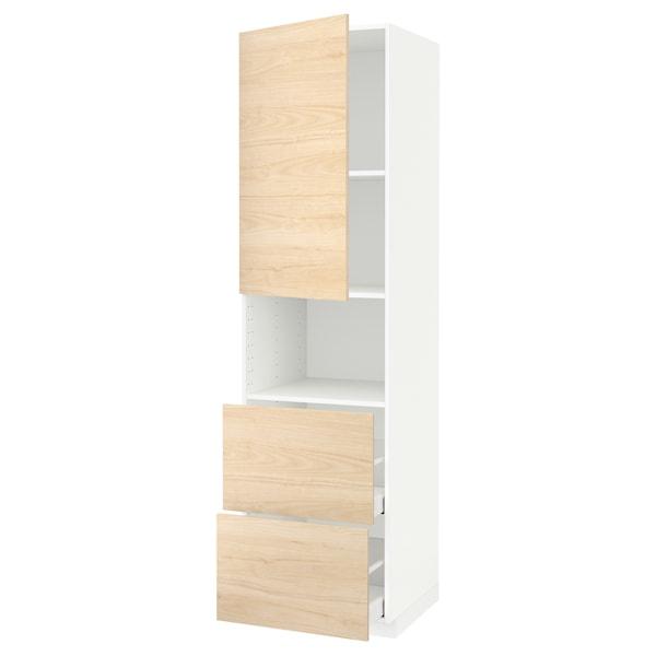 METOD / MAXIMERA خزانة عالية لميكروويف مع باب/درجين, أبيض/Askersund مظهر دردار خفيف, 60x60x220 سم