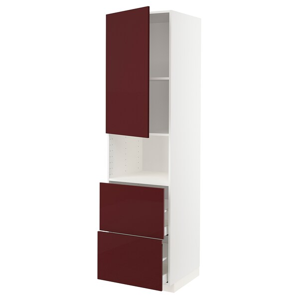 METOD / MAXIMERA خزانة عالية لميكروويف مع باب/درجين, أبيض Kallarp/لامع أحمر-بني غامق, 60x60x220 سم
