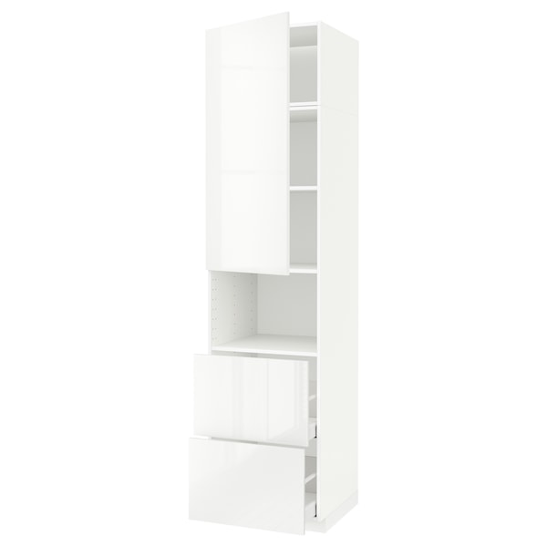 METOD / MAXIMERA خزانة عالية لميكروويف مع باب/درجين, أبيض/Ringhult أبيض, 60x60x240 سم
