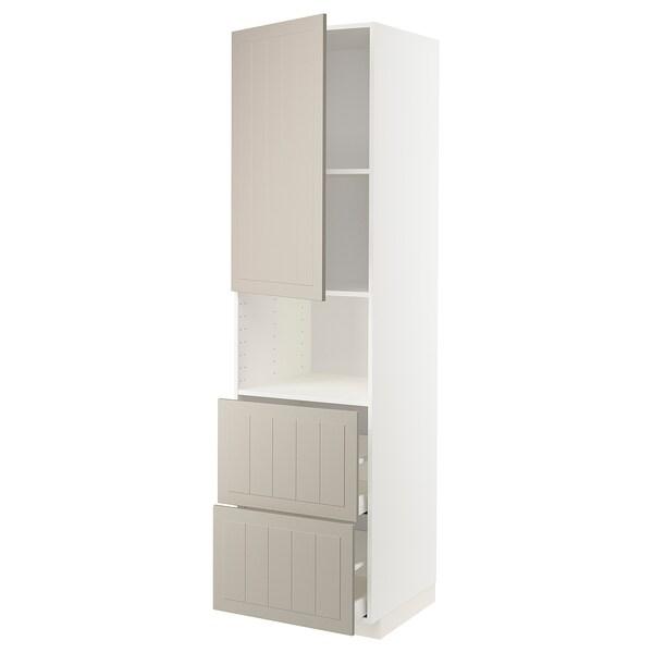 METOD / MAXIMERA خزانة عالية لميكروويف مع باب/درجين, أبيض/Stensund بيج, 60x60x220 سم
