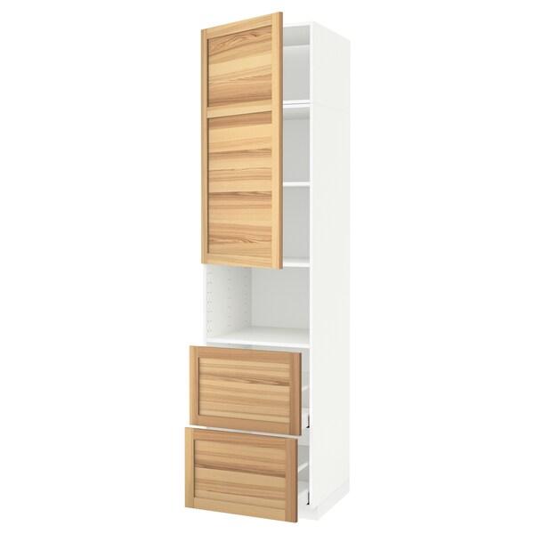 METOD / MAXIMERA خزانة عالية لميكروويف مع باب/درجين, أبيض/Torhamn رماد, 60x60x240 سم