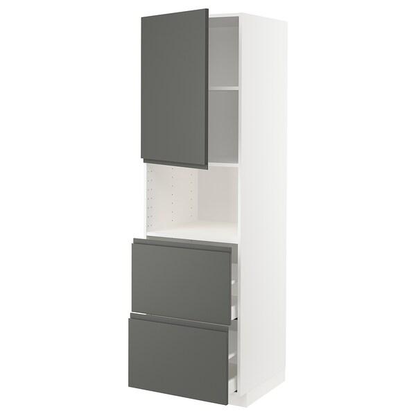 METOD / MAXIMERA خزانة عالية لميكروويف مع باب/درجين, أبيض/Voxtorp رمادي غامق, 60x60x200 سم