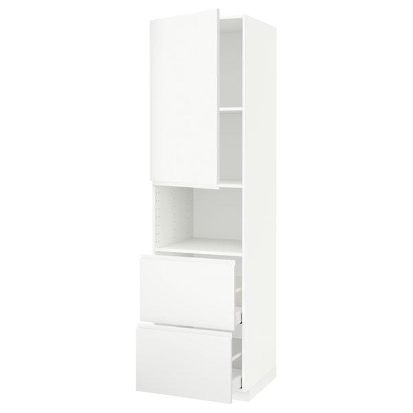 METOD / MAXIMERA خزانة عالية لميكروويف مع باب/درجين, أبيض/Voxtorp أبيض مطفي, 60x60x220 سم