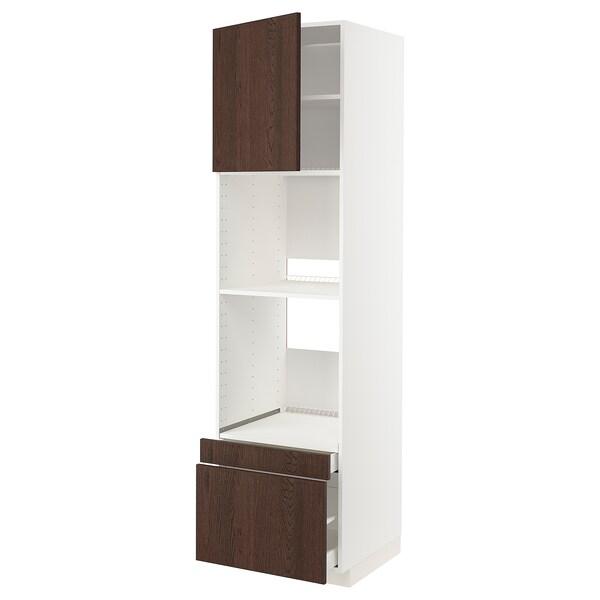 METOD / MAXIMERA خزانة عالية لفرن/فرن مع ب./2 د., أبيض/Sinarp بني, 60x60x220 سم