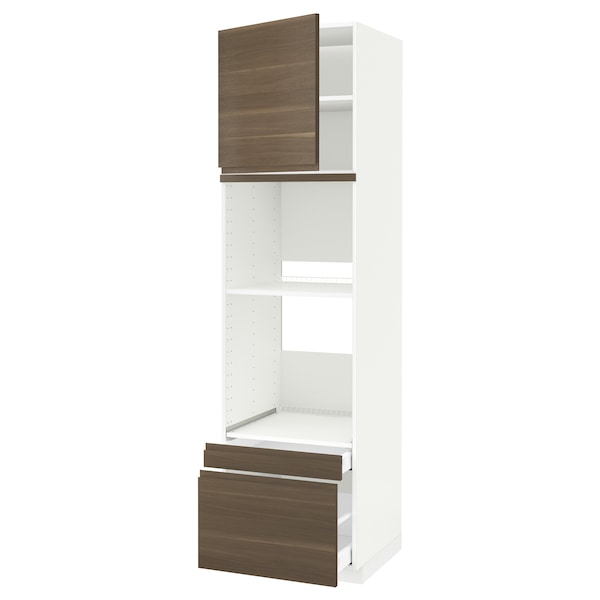 METOD / MAXIMERA خزانة عالية لفرن/فرن مع ب./2 د., أبيض/Voxtorp شكل خشب الجوز, 60x60x220 سم