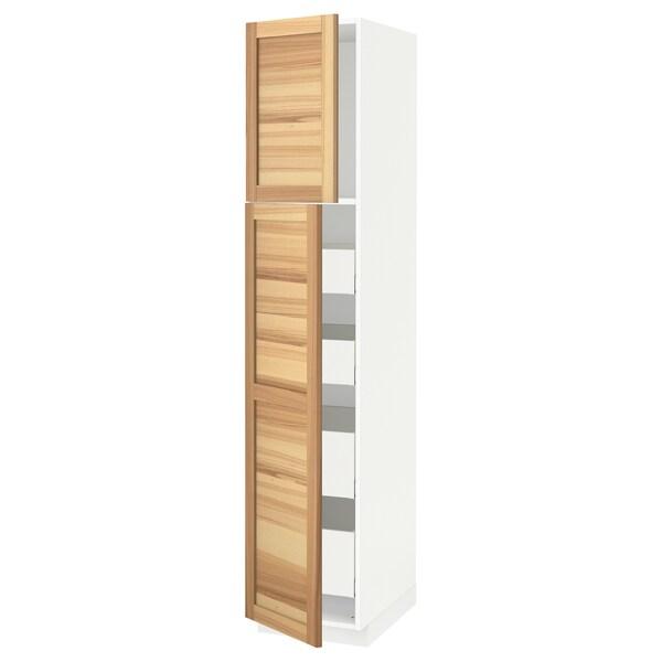 METOD / MAXIMERA خزانة عالية مع بابين/4 أدراج, أبيض/Torhamn رماد, 40x60x200 سم