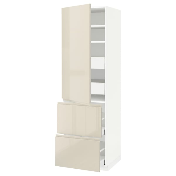 METOD / MAXIMERA Hi cab w shlvs/4 drawers/dr/2 frnts, white/Voxtorp high-gloss light beige, 60x60x200 cm