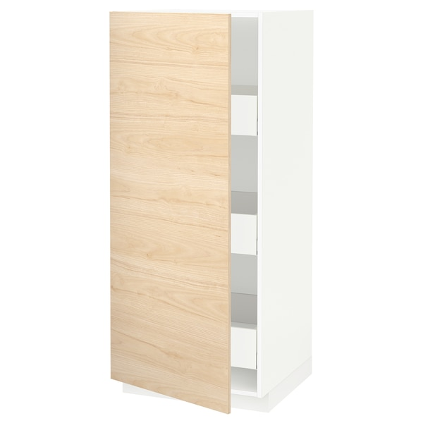 METOD / MAXIMERA خزانة عالية بأدراج, أبيض/Askersund مظهر دردار خفيف, 60x60x140 سم