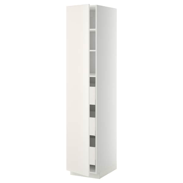 METOD / MAXIMERA خزانة عالية بأدراج, أبيض/Veddinge أبيض, 40x60x200 سم