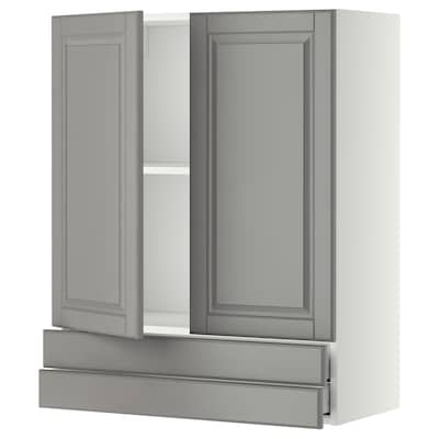 METOD / MAXIMERA Wall cabinet w 2 doors/2 drawers, white/Bodbyn grey, 80x100 cm
