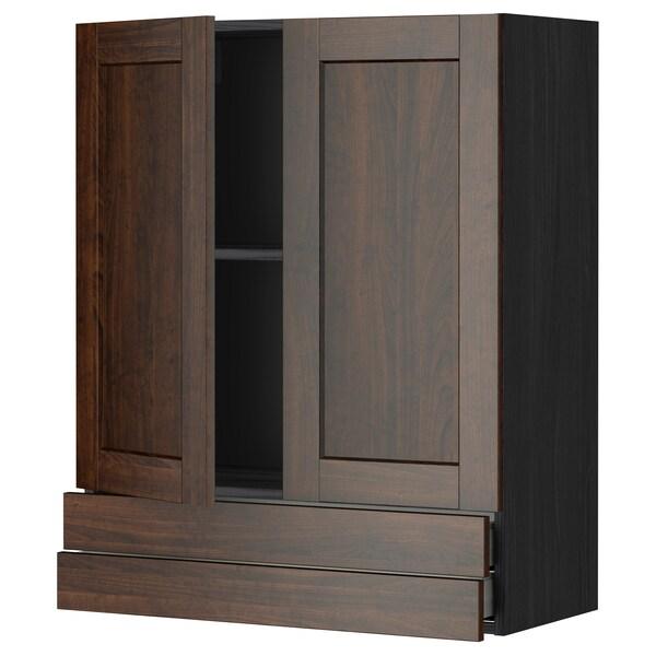 METOD / MAXIMERA wall cabinet w 2 doors/2 drawers black/Edserum brown 80.0 cm 38.8 cm 100.0 cm