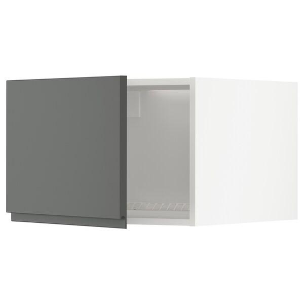 METOD خزانة علوية لثلاجة/فريزر, أبيض/Voxtorp رمادي غامق, 60x40 سم