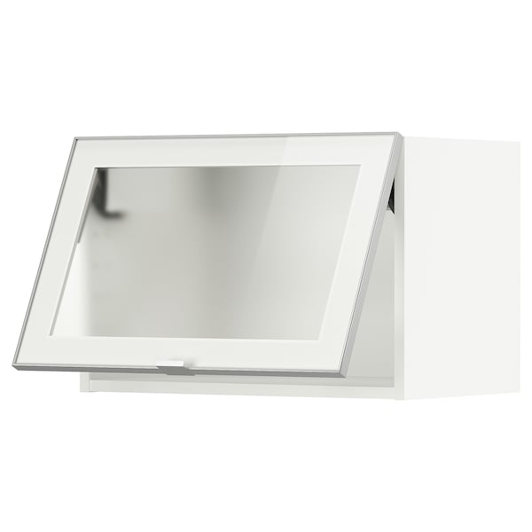 METOD Wall cab horizontal w glass door, white/Jutis frosted glass, 60x40 cm