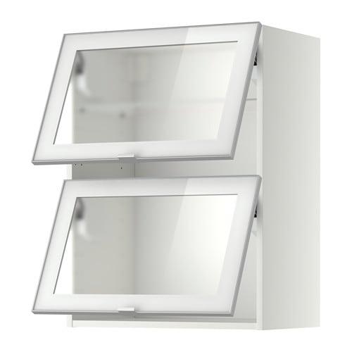 METOD Wall cab horizontal w 2 glass doors - white Jutis frosted glass/aluminium 80x80 cm - IKEA