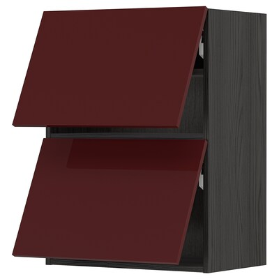 METOD Wall cabinet horizontal w 2 doors, black Kallarp/high-gloss dark red-brown, 60x80 cm
