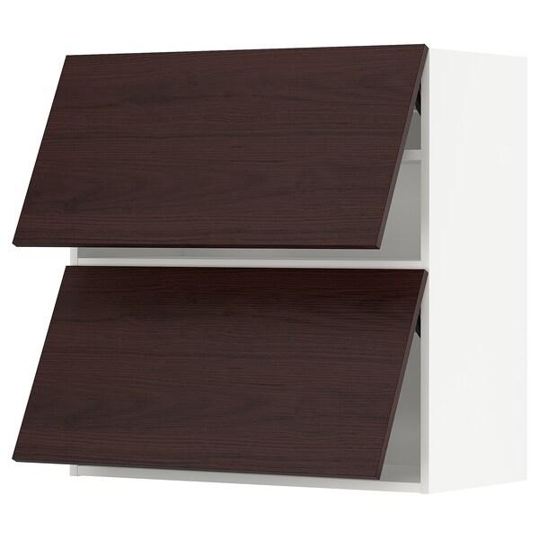 METOD Wall cabinet horizontal w 2 doors, white Askersund/dark brown ash effect, 80x80 cm