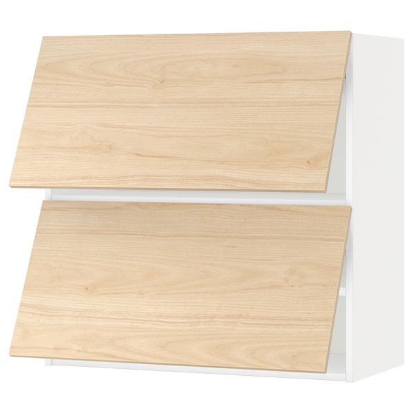 METOD Wall cabinet horizontal w 2 doors, white/Askersund light ash effect, 80x80 cm