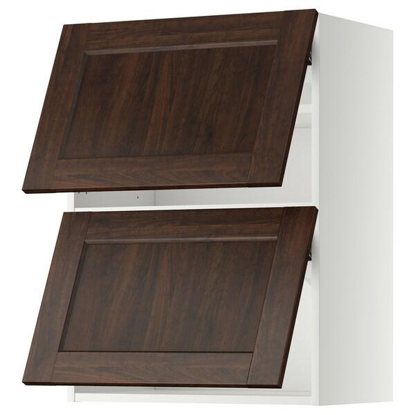 METOD Wall cabinet horizontal w 2 doors, white/Edserum brown, 60x80 cm