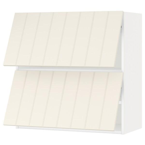 METOD Wall cabinet horizontal w 2 doors, white/Hittarp off-white, 80x80 cm