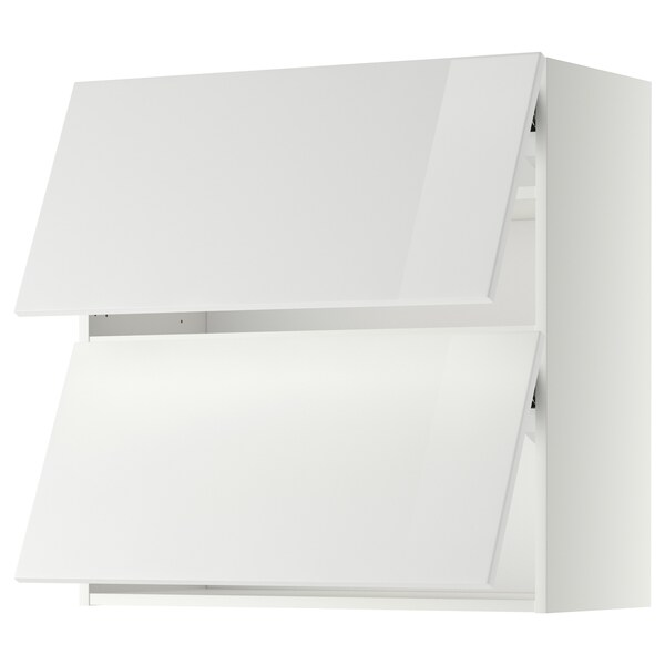 METOD Wall cabinet horizontal w 2 doors, white/Ringhult white, 80x80 cm