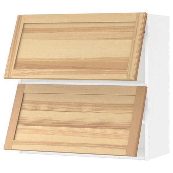 METOD Wall cabinet horizontal w 2 doors, white/Torhamn ash, 80x80 cm