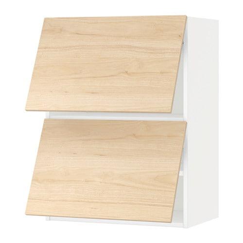 METOD Wall cabinet horizontal w 2 doors - white Askersund ash 60x80 cm - IKEA