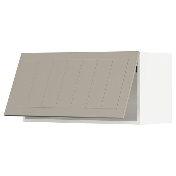METOD Wall cabinet horizontal w push-open, white/Stensund beige, 80x40 cm