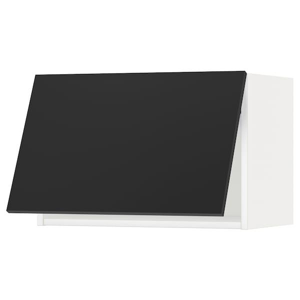 METOD خزانة حائط افقية, أبيض/Uddevalla فحمي, 60x40 سم