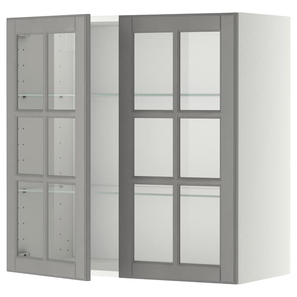 METOD Wall Cabinet W Shelves/2 Glass Drs