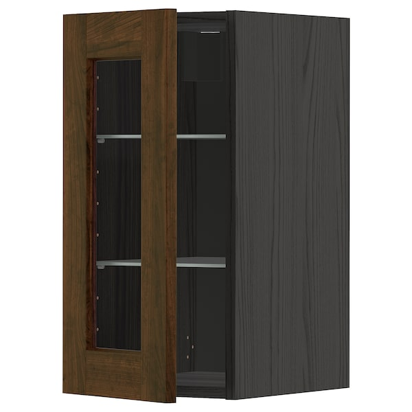 METOD Wall cabinet w shelves/glass door, black/Edserum brown, 30x60 cm