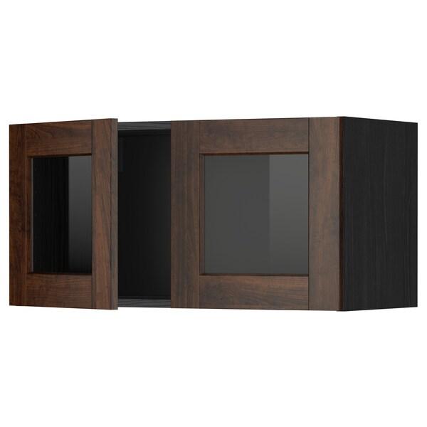 METOD خزانة حائط مع بابين زجاجيين, أسود/Edserum بني, 80x40 سم