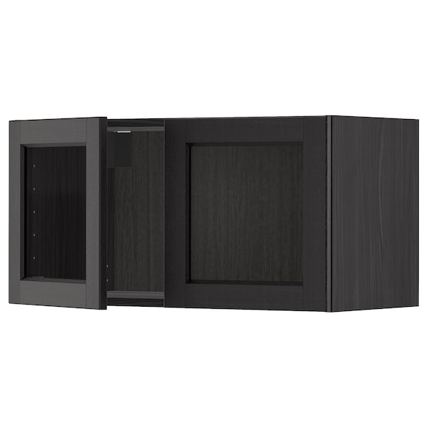 METOD خزانة حائط مع بابين زجاجيين, أسود/Lerhyttan صباغ أسود, 80x40 سم