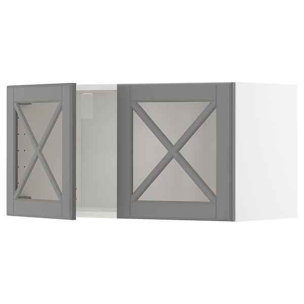 METOD خزانة حائط مع بابين زجاجيين, أبيض/Bodbyn رمادي, 80x40 سم