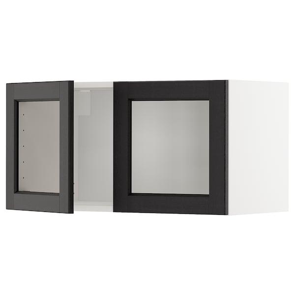 METOD خزانة حائط مع بابين زجاجيين, أبيض/Lerhyttan صباغ أسود, 80x40 سم