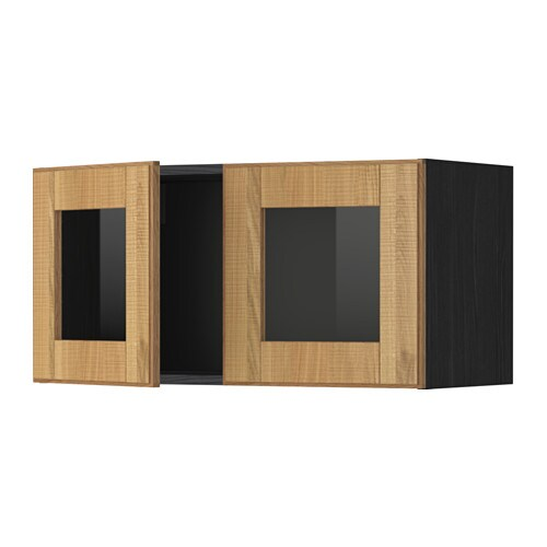 METOD Wall cabinet with 2 glass doors - wood effect black, Laxarby ...