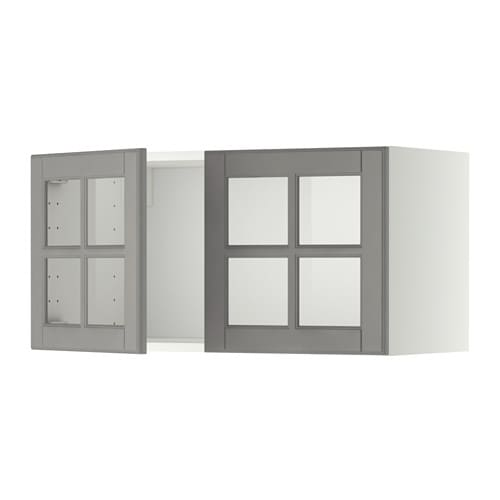 Metod Wall Cabinet With 2 Glass Doors White Bodbyn Grey Ikea