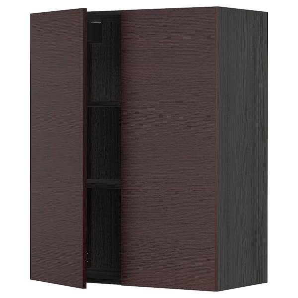 METOD Wall cabinet with shelves/2 doors, black Askersund/dark brown ash effect, 80x100 cm