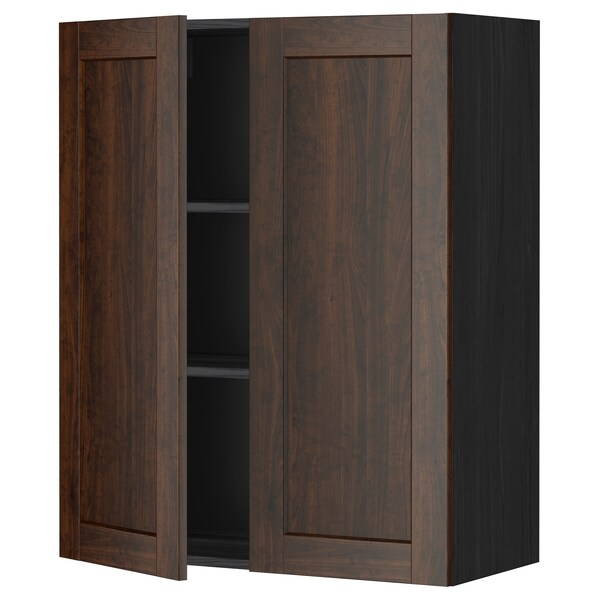 METOD Wall cabinet with shelves/2 doors, black/Edserum brown, 80x100 cm