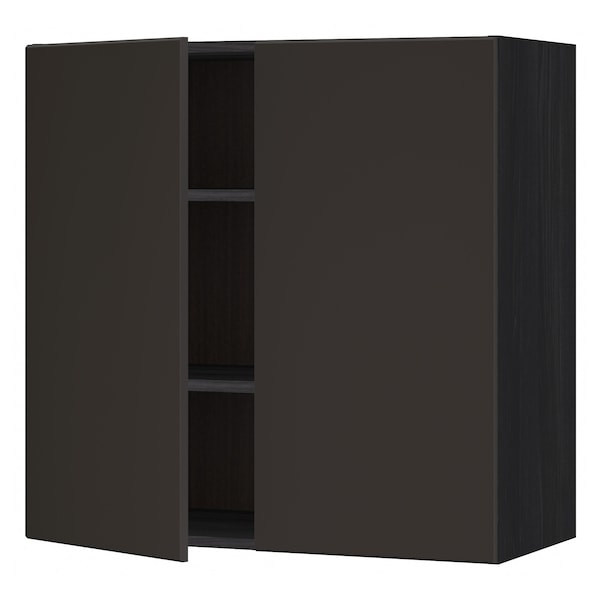 METOD Wall cabinet with shelves/2 doors, black/Kungsbacka anthracite, 80x80 cm