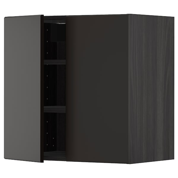 METOD Wall cabinet with shelves/2 doors, black/Kungsbacka anthracite, 60x60 cm