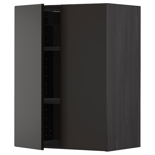 METOD Wall cabinet with shelves/2 doors, black/Kungsbacka anthracite, 60x80 cm
