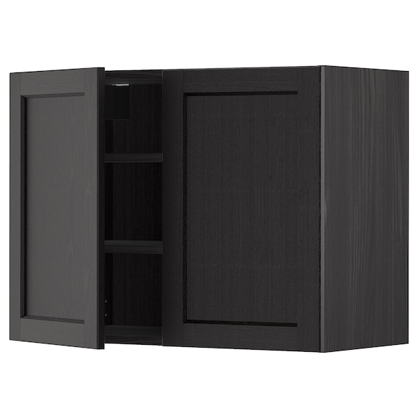 METOD Wall cabinet with shelves/2 doors, black/Lerhyttan black stained, 80x60 cm