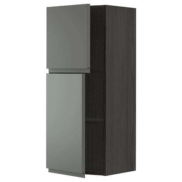 METOD Wall cabinet with shelves/2 doors, black/Voxtorp dark grey, 40x100 cm