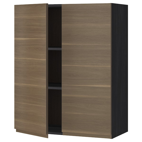 METOD Wall cabinet with shelves/2 doors, black/Voxtorp walnut effect, 80x100 cm