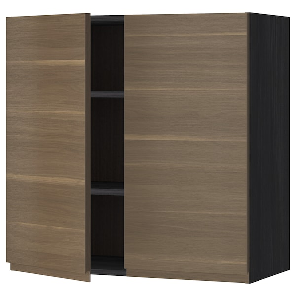 METOD Wall cabinet with shelves/2 doors, black/Voxtorp walnut effect, 80x80 cm