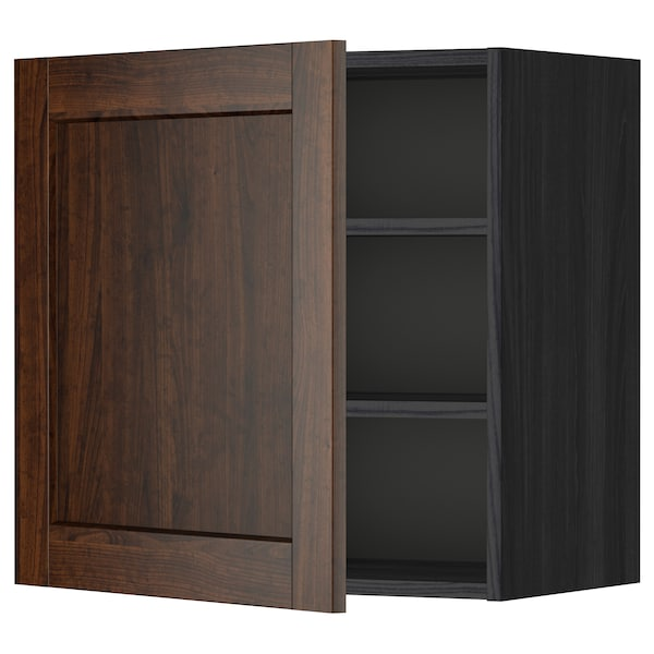 METOD Wall cabinet with shelves, black/Edserum brown, 60x60 cm