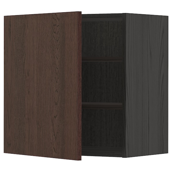 METOD Wall cabinet with shelves, black/Sinarp brown, 60x60 cm